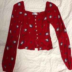 Hollister red floral button up blouse